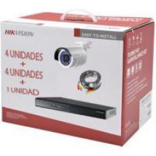 KIT DVR 4ch + 4 Bullet IP66 + 4 Rollos BNC 20mt + HDD 1TB - Hikvision